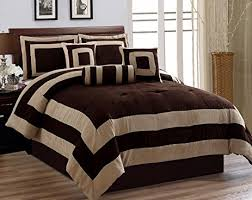 Suede Bed Frame 7 Pieces Chocolate Brown Suede Comforter Set King