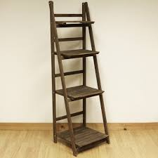 4 tier brown ladder shelf display unit free standing folding book stand shelves