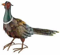 pheasant standing bird metal art garden statue indoor outdoor