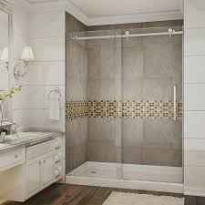 bathroom frosted frameless shower door with rain shower and