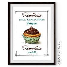 sprüche über schokolade abouki lustiger kunstdruck ungerahmt schokolade versteht