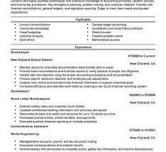 Bookkeeper Sample Resume Resume Bullet Points Examples Resume Example And Free Resume Maker