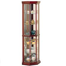 Modern Curio Corner Curio Cabinet In Medium Brown Finish With Six Glass Shelves