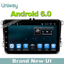 uniway android 6 0 car dvd gps player for vw caddy bora leon polo