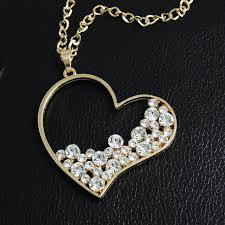 necklace pendants online images Online shop gold rhinestone heart pendant long chain necklace jpg