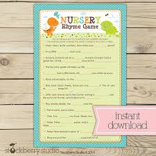 nursery rhyme baby shower dinosaur baby shower nursery rhyme quiz boy baby shower