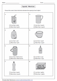 Gallon Worksheet Capacity Worksheets