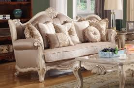 French Provincial Sofa by Antique White French Provincial Sofa In Beige Chenille Fabric