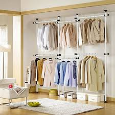amazon com asunflower adjustable clothing racks 4 tier closet