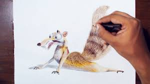 drawing scrat the saber toothed squirrel from the movie ice age