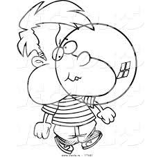 vector cartoon boy blowing bubble gum coloring outline