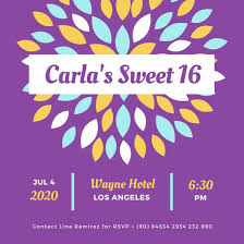 purple yellow blue flower sweet 16 invitation templates by canva