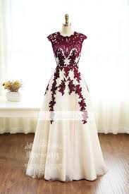 burgundy lace tulle long prom dress burgundy bridesmaid dress