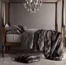 Faux Fur Comforter Set King Rh U0027s Exotic Faux Fur Oversized Bed Throw Siberian Grey Fox Our