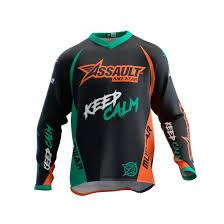 bike wear assault mudwar mtb jersey orange turquoise man assault bike wear