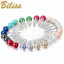 stainless steel earrings hypoallergenic 6mm assorted mixed color wholesale 12 pairs imitation pearl stud