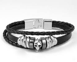 black leather skull bracelet images Genuine leather skull bracelet metalskulls png