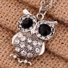 crystal owl pendant necklace images Yazilind jewelry new vintage black eye silver carve full crystal jpg