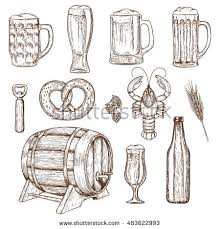 background beer icons oktoberfest sketch style stock vector