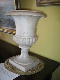 Urn Planters With Pedestal Antique Well Made Italian Genuine White Marble Urn Planter