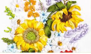 sunflower ribbon needlework diy ribbon cross stitch sets for embroidery kit best