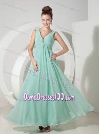 v neck mint color prom dresses for dama with beading