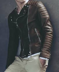 jacket moto thin brown leather modern moto jacket and khaki chinos men u0027s