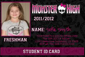 printable monster high photo id card birthday invitation monster