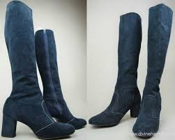womens navy boots uk womens boots 60s 70s navy blue suede leather knee high go go boots
