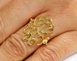 Ring With Initials Gold Monogram Ring Etsy