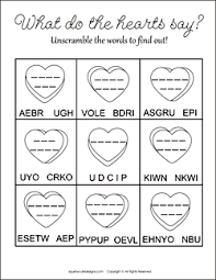 valentine u0027s word scramble kids free printable party