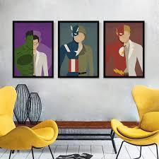Modern Cartoon Ultraman Hero Figure Captain America Oil Painting - Canvas paintings for kids rooms