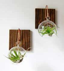wood u0026 copper air plant wall planter features florals and