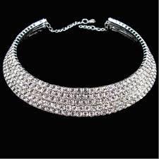 rhinestone collar necklace images 2018 women fashion silver diamond rhinestones collar necklace jpg