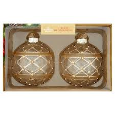 morrisons morrisons gold glass baubles with gems 2 per pack