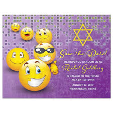 happy thanksgiving smiley face social media emoji bat mitzvah save the date card purple yellow smiley