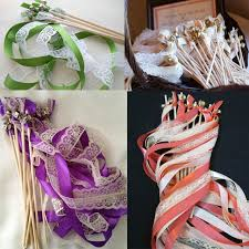 wedding wands 3 ribbons stick wedding wands with lace mult colour ribbon