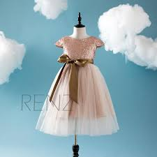 rose gold sequins girls pageant dresses kids formal wears tea