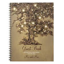 Wedding Wishes Book Rustic Oak Tree String Lights Wedding Guest Book Zazzle Com