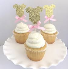 20 gold glitter baby shower one piece cupcake topper with pink bow