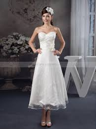 tea length strapless satin wedding dress with sheer lace overlay