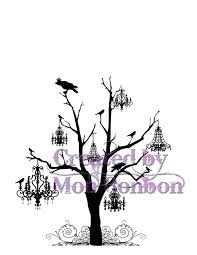 digital tree with crows and chandeliers
