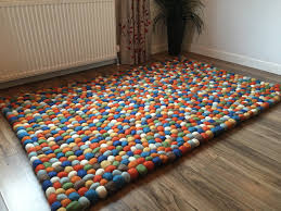 Wool Ball Rug Gorgeous Thick Multi Coloured Wool Felt Balls Rug