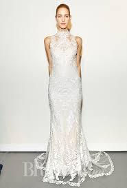 wedding dress high brides gemy maalouf fall 2015 sleeveless high neck sheath lace