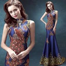 2016 luxury royal blue evening dress mermaid ball gown chinese