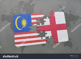England On The World Map by Puzzle National Flag Malaysia England On Stock Illustration