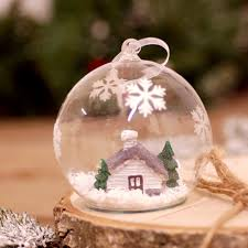 glass hanging tree decoration bauble filled with snow