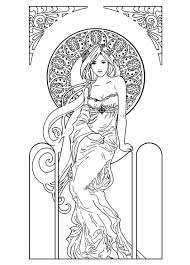 art nouveau coloring page coloring pinterest girls