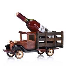 personalized wooden truck wine bottle holder retro wood wine rack