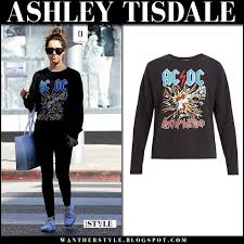 ashley tisdale in black ac dc sweatshirt and black jeans on